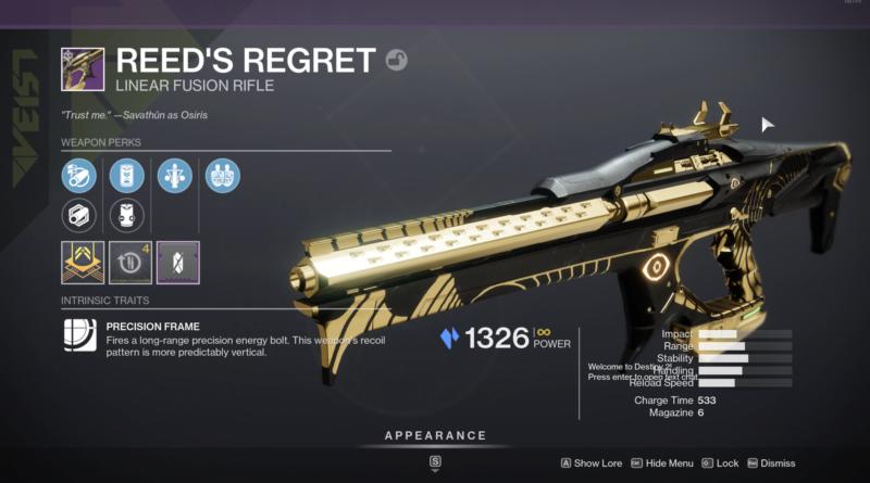 Destiny 2 Reed's Regret Guide - Reed's Regret God Roll и как его получить